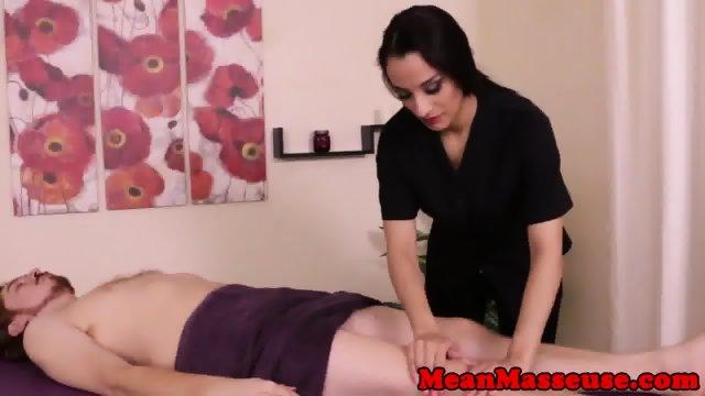 Dominating masseuse Nicki Ortega jerks client - scene 1