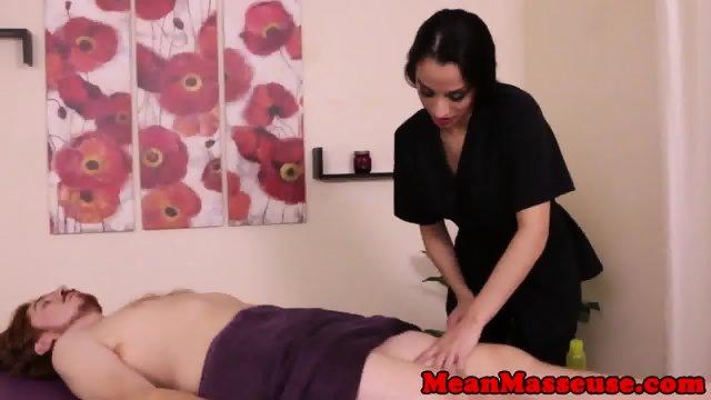 Dominating masseuse Nicki Ortega jerks client - scene 2