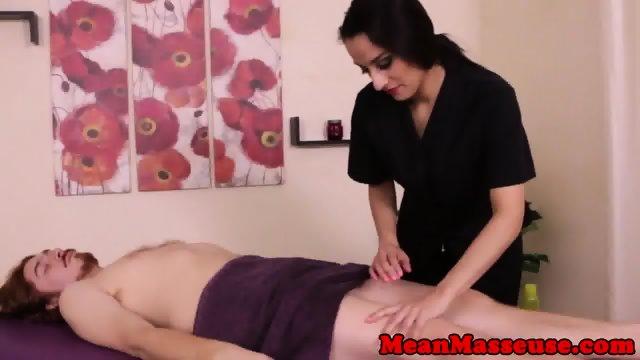 Dominating masseuse Nicki Ortega jerks client - scene 3