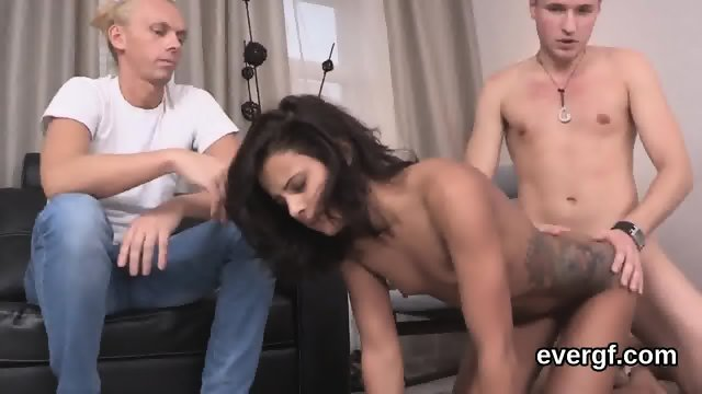 Penniless dude allows sexy mate to drill his exgf for bucks - scene 12