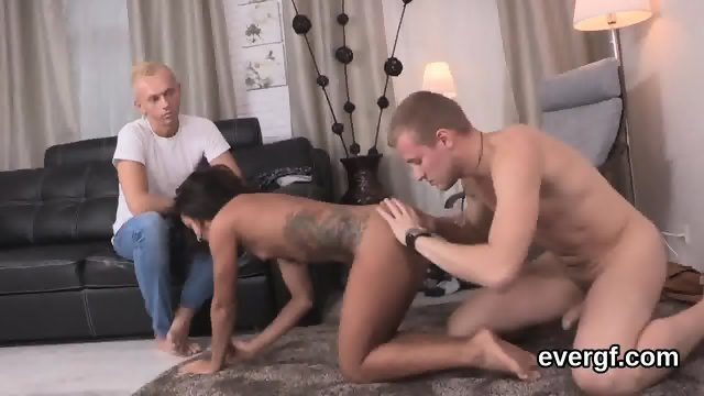 Penniless dude allows sexy mate to drill his exgf for bucks - scene 7