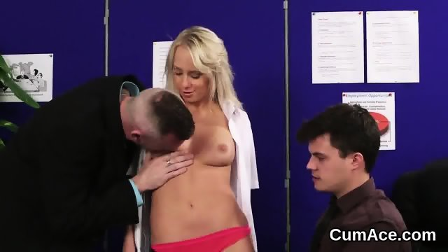 Foxy honey gets cumshot on her face eating all the sperm - scene 8