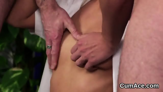 Foxy honey gets cumshot on her face eating all the sperm - scene 12