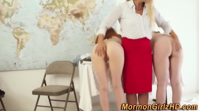 Lez teacher spanks mormon - scene 3