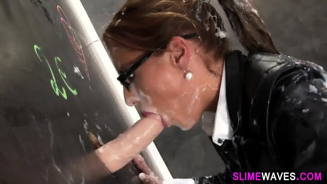 Glam whore gets bukkake - scene 8