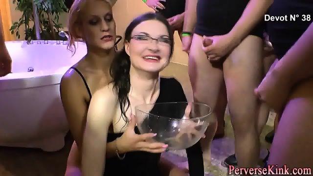 Slut drinks pee from bowl - scene 3