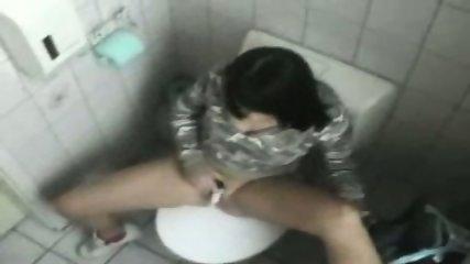 Bimbo Chick masturbates in Toilet - scene 6