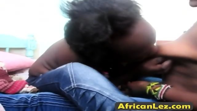 First time ever in front of a camera for these african lesbians - scene 3