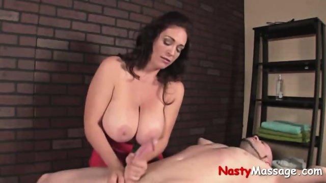 Big Busted Masseuse Masturbates Client - scene 11