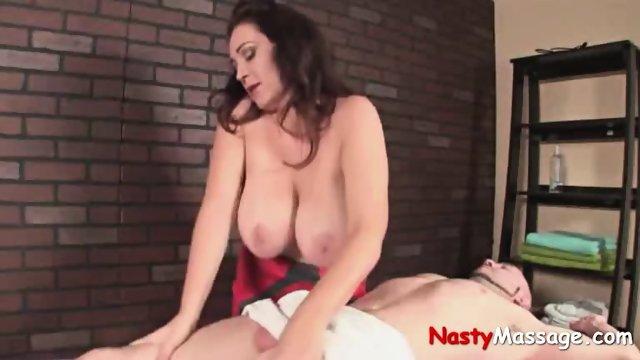Big Busted Masseuse Masturbates Client - scene 5