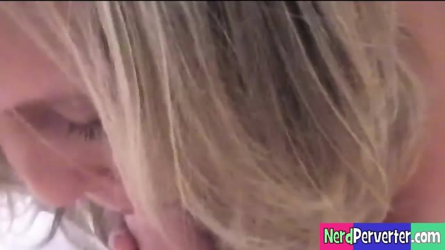 Blonde Sucks & Tit Fucks Geek Dick - scene 1
