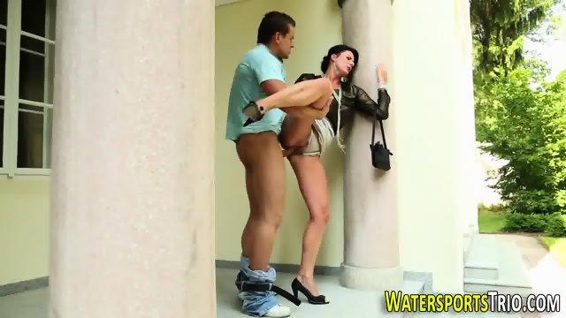 Spread slut urinating - scene 7