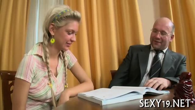 Cumshot lesson from old teacher - scene 1