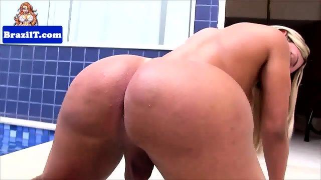 Gorgeous tanlined latina tgirl jerks off - scene 11