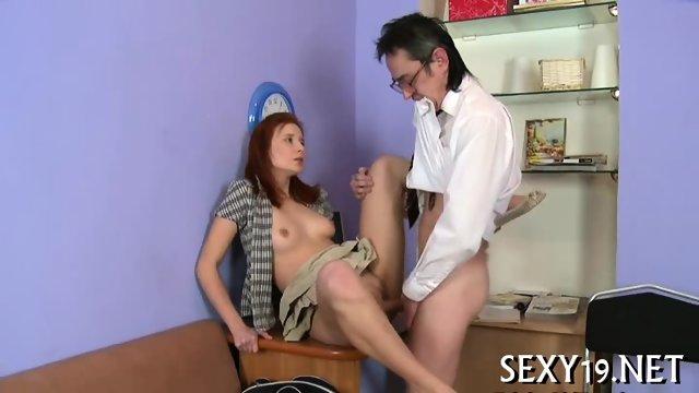 Old tutor gets cock loving action - scene 10