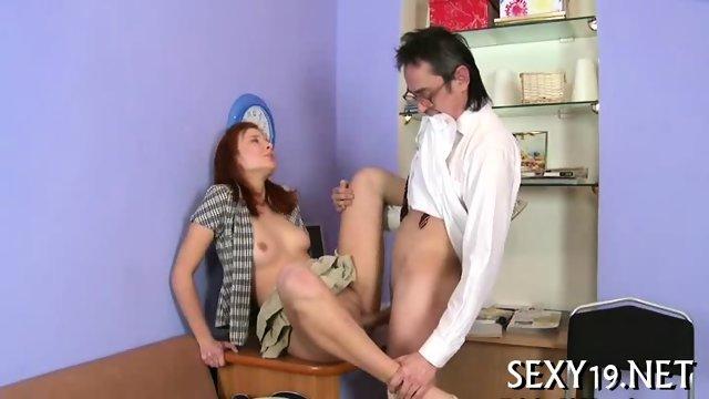 Old tutor gets cock loving action - scene 11