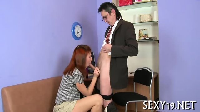 Old tutor gets cock loving action - scene 5