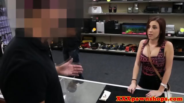 Busty pawnshop slut dicksucking in toilet