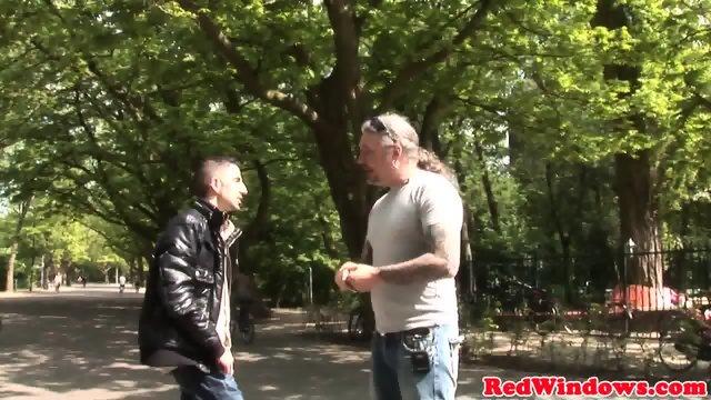 Dutch stockinged hooker anally fingered