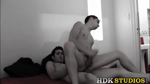 Horny twinks with massive cocks having hardcore sex action