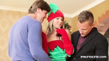 Skinny Teen Gina Gerson Gets DP For Christmas - scene 3