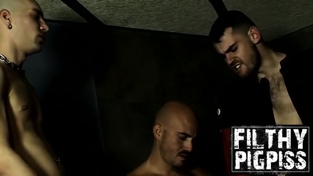 Pissing orgy in the backroom hall with some horny guys
