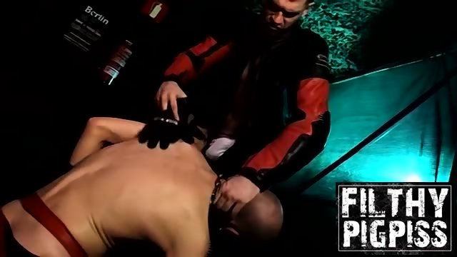 Hardcore pissing and anal 3some with horny biker men