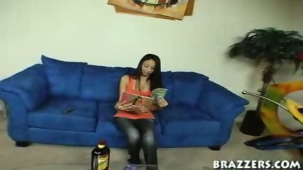 Tight chick gets caught looking at magazines - scene 1