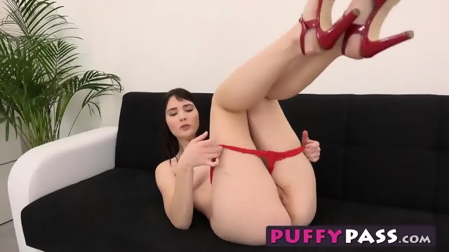 Sexy Blue Berry stretches her pussy out with a purple dildo