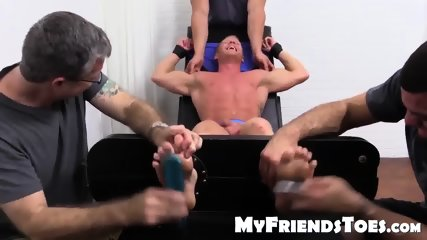 Muscled Johnny Gets Tickled In His Pits And Sole By The Trio