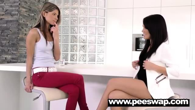 Gina Gerson and Megan Rain swapping piss