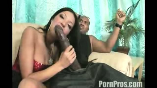 Amazingly brunette girl pounded her mouth a huge black cock
