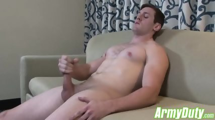 John unleashes his built up load from stroking his hard dick