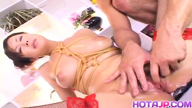 Marin Asaoka fucked in bondage style and creamed with jizz