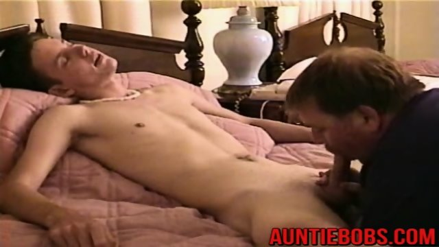 Cum hungry Auntie Bob sucking on naked Joeys huge twink cock