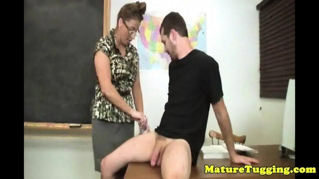 Bigtitted milf teacher tugs in office