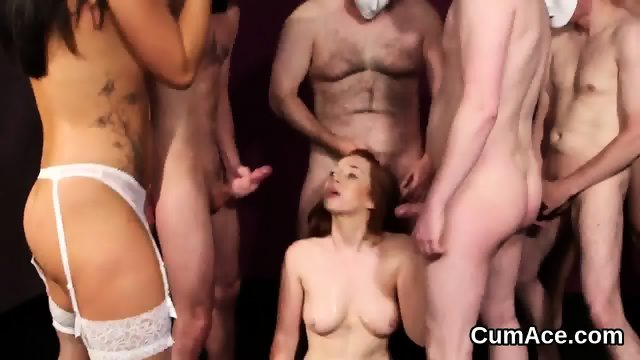 Frisky centerfold gets cum shot on her face eating all the charge