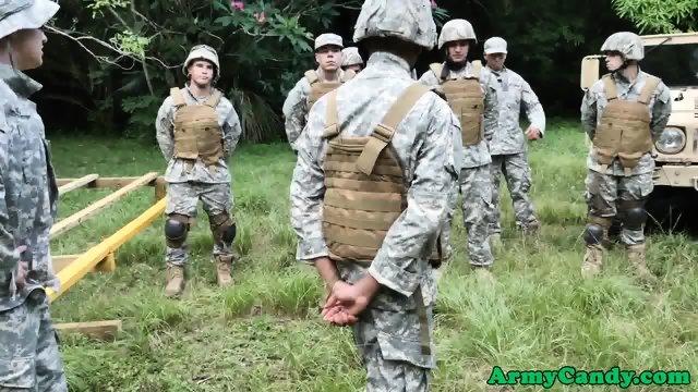 Military black hunk swallows commanders cum