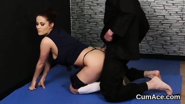 Kinky doll gets cum load on her face eating all the load - scene 1