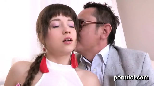 Kissable college girl was seduced and fucked by her elder lecturer - scene 11