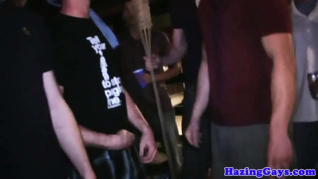 Outdoor hazing students getting ass paddled