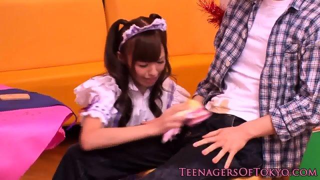 Jap waitress in cocksucking group fantasy