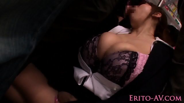 Bigtitted japanese sucking cock in public