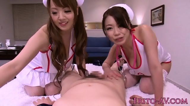 Hugetitted japanese nurse tests patients cock - scene 3