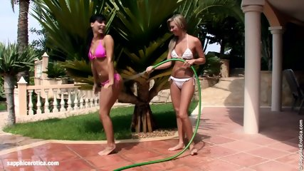 Carie And Natali Play With Water And Have Lesbian Sex Outdoors By Sapphic Erotica - scene 1