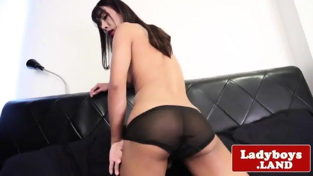 Ladyboy stroking hard cock in dress - scene 6