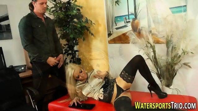 Blonde pissed and cummed - scene 11