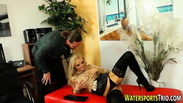 Blonde pissed and cummed - scene 12