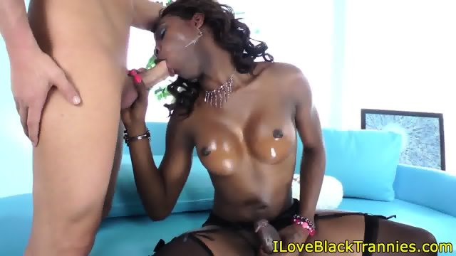 Busty black tranny rides whiteboy cock raw - scene 7