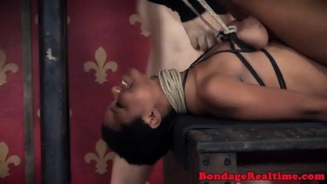 Ebony submissive strapon punished by femdom